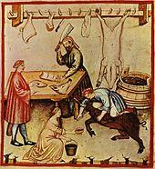 Un porc est saigné dans une boucherie du Moyen Âge