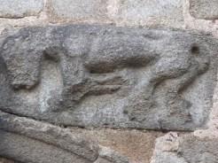 Lions sculptés sur le portail d'entrée