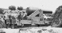 L'un des canons columbiad de 8 pouces à Fort Darling
