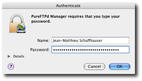 Mac OS X Authentication Prompt.