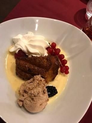 Dessert - hot brownie and cold icecream.