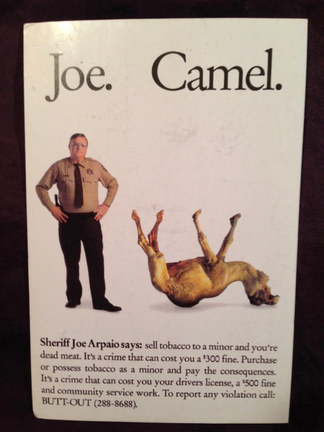 Image of postcard of Sheriff Joe with dead camel, a waarning against the sale of tobacco to minors.