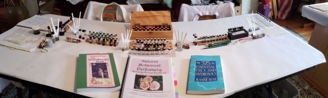 photo of 3 books used in perfumery plus the Vocabulary of Odor scents, the Bases, notes, and scent blotters.
