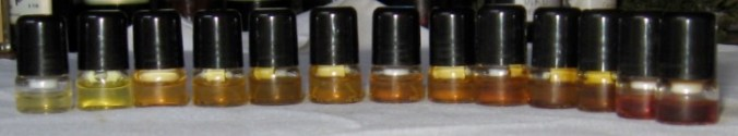 bottles showing 2 samples of bases using only two essential oils, Lavender and Patchouli in different proportions.