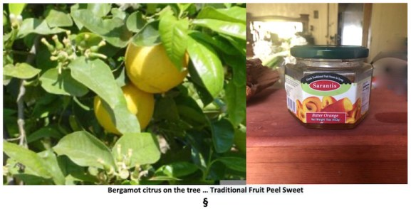 Showing the tree with ripe  Bergamot fruit and the marmalad made from the peel