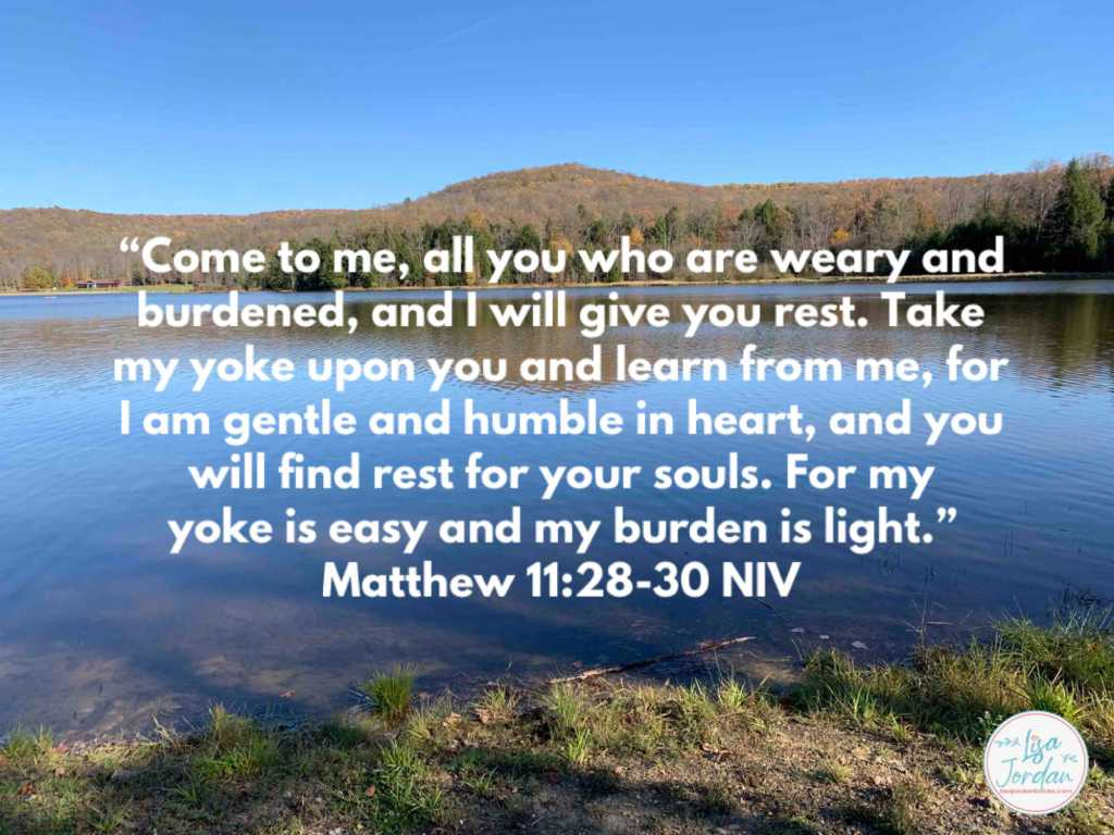 "Meme: ""'Come to me, all you who are weary and burdened, and I will give you rest. Take my yoke upon you and learn from me, for I am gentle and humble in heart, and you will find rest for your souls. For my yoke is easy and my burden is light.'"" ~Matthew 11:28-30 NIV on a backdrop of a lake and trees on the far bank"