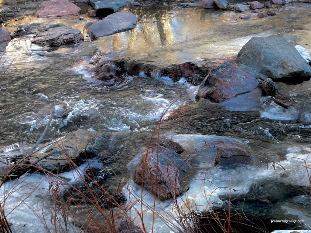 A creek running over rocks with ice on the sides and a reflection of trees on part of the water; the ice is a reminder that there are times when trusting God is hard