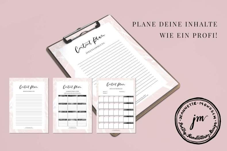 Content Plan Editorial Calendar Kalender Redaktionsplan Content Marketing Content Planning marble blush rose