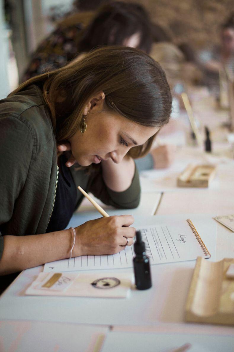 Moderne Kalligrafie lernen Feder Tusche Papier Übungen