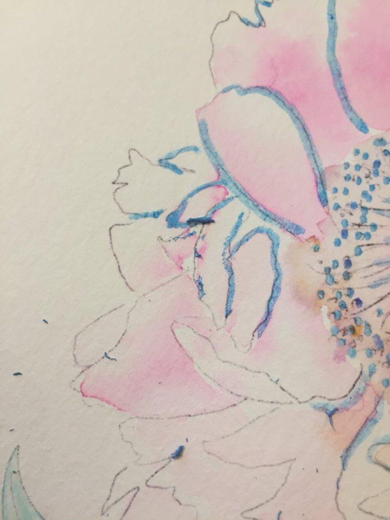 Aquarellfarbe Aquarellmalerei Brush Pen Molotow Ecoline Wasserfarben peonie Pfingsrose blush rosa DIY Tutorial Masking Fluid Rubbelkrepp Schmincke