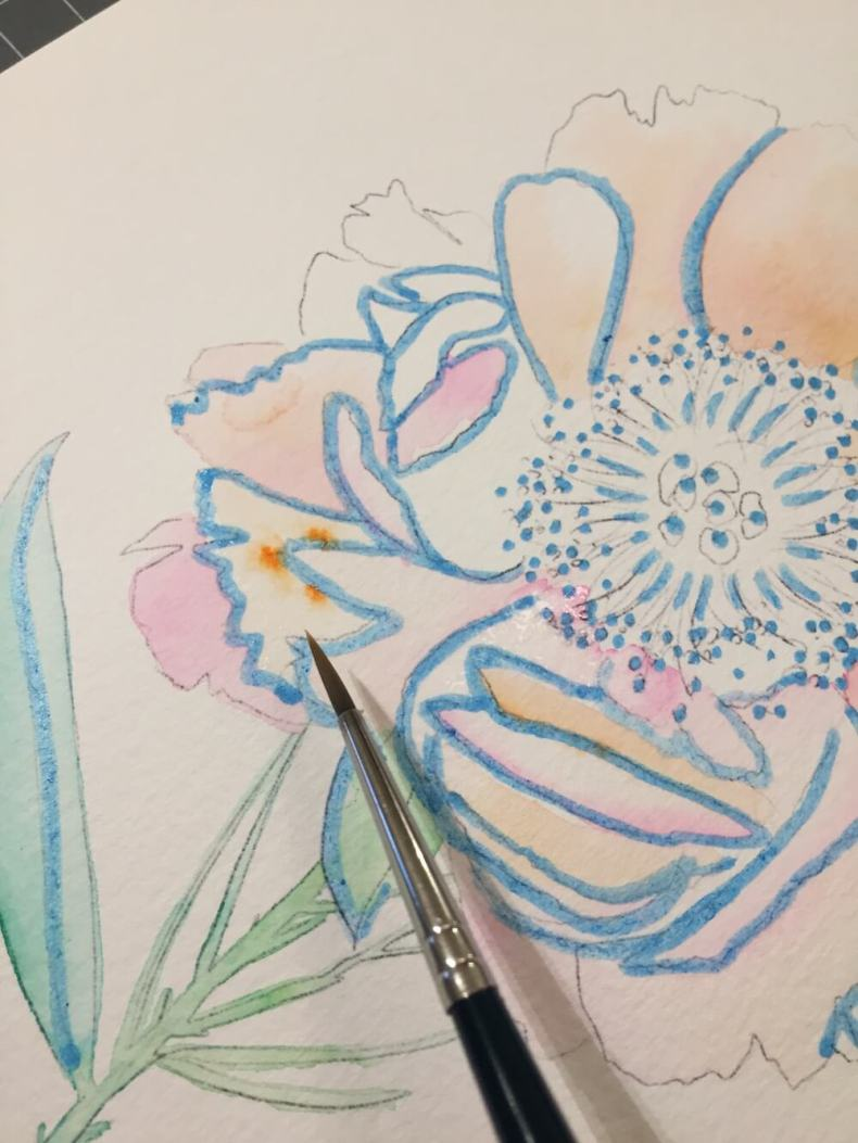 Aquarellfarbe Aquarellmalerei Brush Pen Molotow Ecoline Wasserfarben peonie Pfingsrose blush rosa DIY Tutorial Masking Fluid Rubbelkrepp