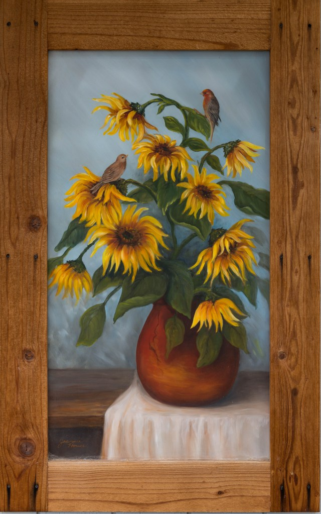 Red Finch and Sunflowers