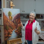 Jeannie House with her Painting, Palm Canyon