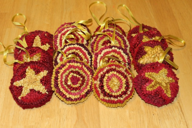 Finished! Sixteen Christmas ornaments.