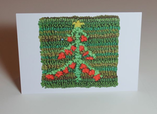 Green on Green Christmas Tree Greeting Card