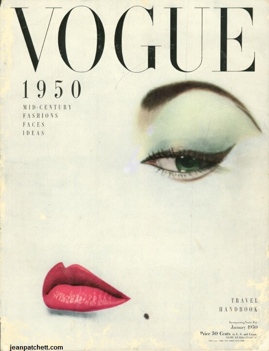 Jean Patchett photographed by Erwin Blumenfeld for the cover of Vogue magazine, January 1950.