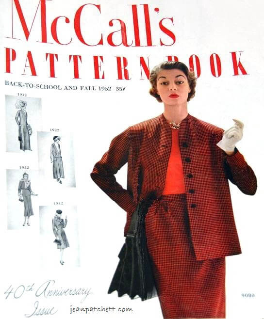 Jean Patchett wears McCall's 9080 on the 40th anniversary issue of McCall's Pattern Book, 1952