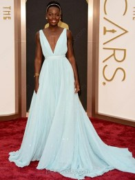 Light Sky Blue Chiffon V-neck Court Train Princess Sashes/Ribbons Ball Dress