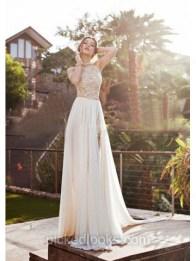 Ivory A-line Scoop Neck Chiffon Court Train Beading Prom Dress