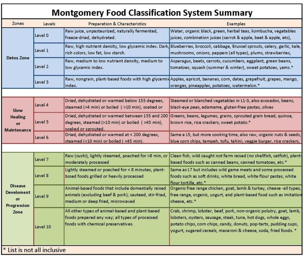 Montgomery Food Classification System