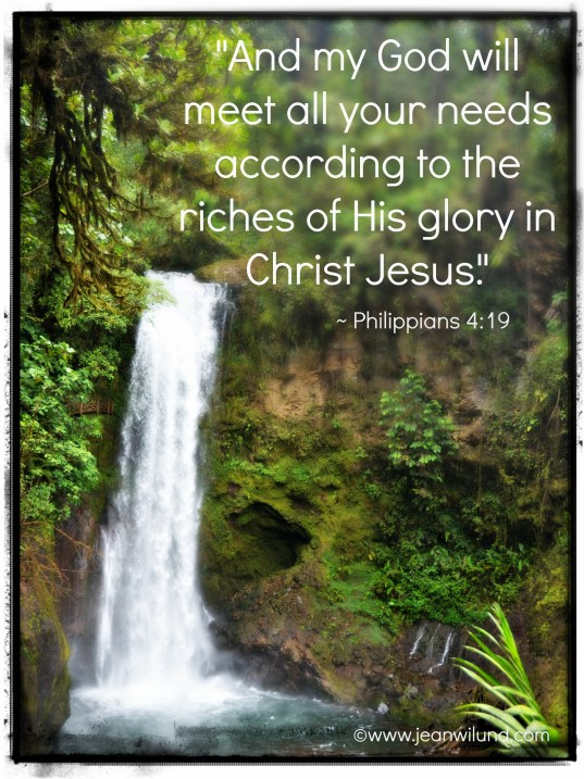 """And my God will meet all your needs according to the riches of His glory in Christ Jesus."" ~ Philippians 4:19 Photo by Jean Wilund in Costa Rica"