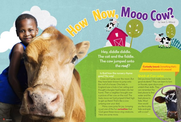 "Fun facts about cows for kids ""How Now, Mooo Cow?"" by Jean Wilund (Clubhouse Jr Magazine)"