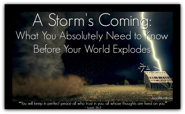 A Storm's Coming: What You Absolutely Need to Know Before Your World Explodes. People Don't Rise to the Occasion. They Fall Back on Their Training. via www.JeanWilund.com