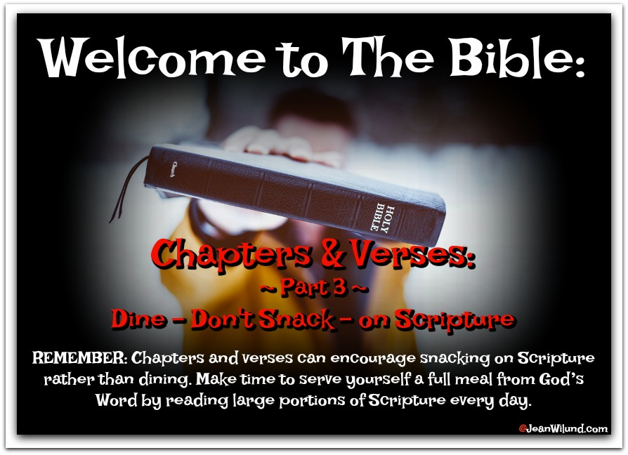 Dine, Don't Snack, on Scripture ~ Welcome to the Bible: Chapters and Verses Bring Convenience and Challenges ~ Part 3