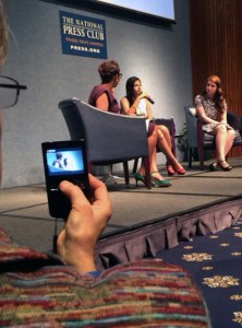 As editor Gillian McGoldrick and former editor Tanvi Kumar tell their stories to NPR co-host Audie Cornish, another former student who stood up for her right so speak -- Mary Beth Tinker -- tapes the presentation. (photo by John Bowen)