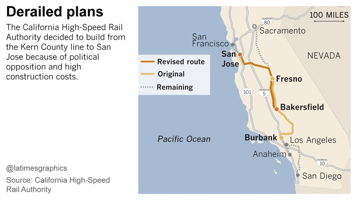 California HSR Downsized Route - LA Times photo