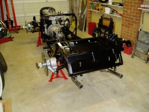 Chassis with suspension, engine and gearbox in place