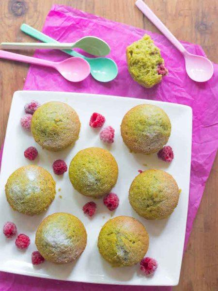 muffins à la pistache et aux framboises