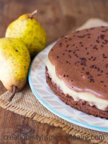Gâteau à étages poire-chocolat
