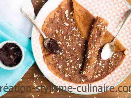crêpes sans gluten au chocolat et aux flocons d'avoine