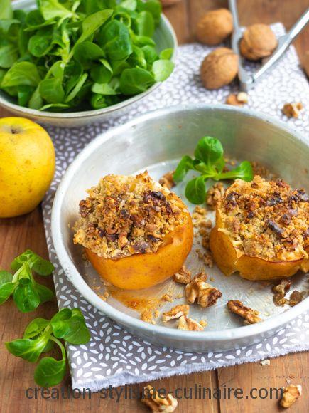 pommes farcies de crumble salé aux noix