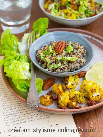 Salade de quinoa chou fleur rôti curcuma