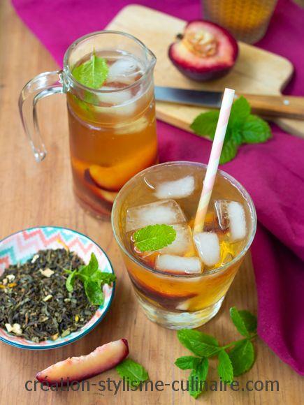thé glacé à la pêche et à la menthe