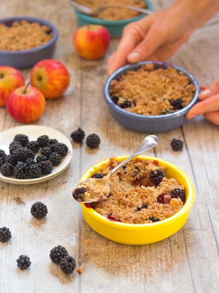 crumble sans gluten pomme mûre aux noisettes