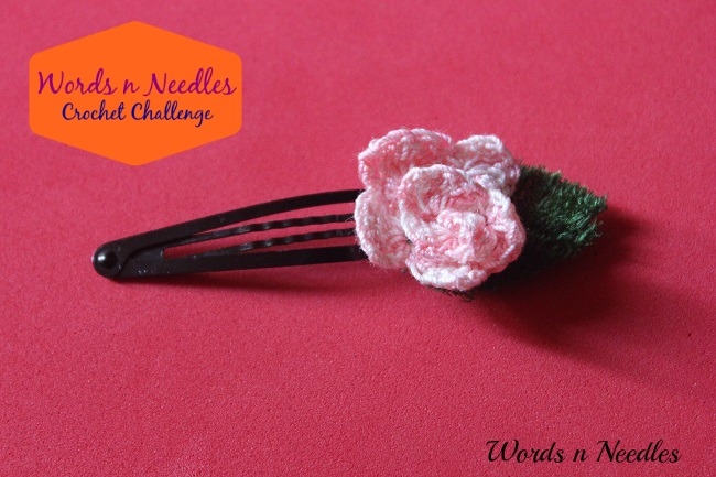 crochet rose hair clip