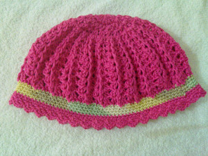 crochet hat simple with band wordsnneedles