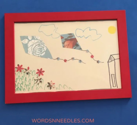 gift wrrapping paper collage using flower punch recycle create junk play