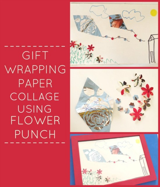 gift wrapping paper collage activity using flower punch recycle junk play