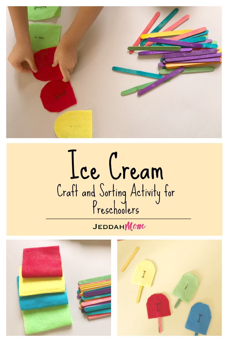 Ice creat craft and sorting activity for preschoolers