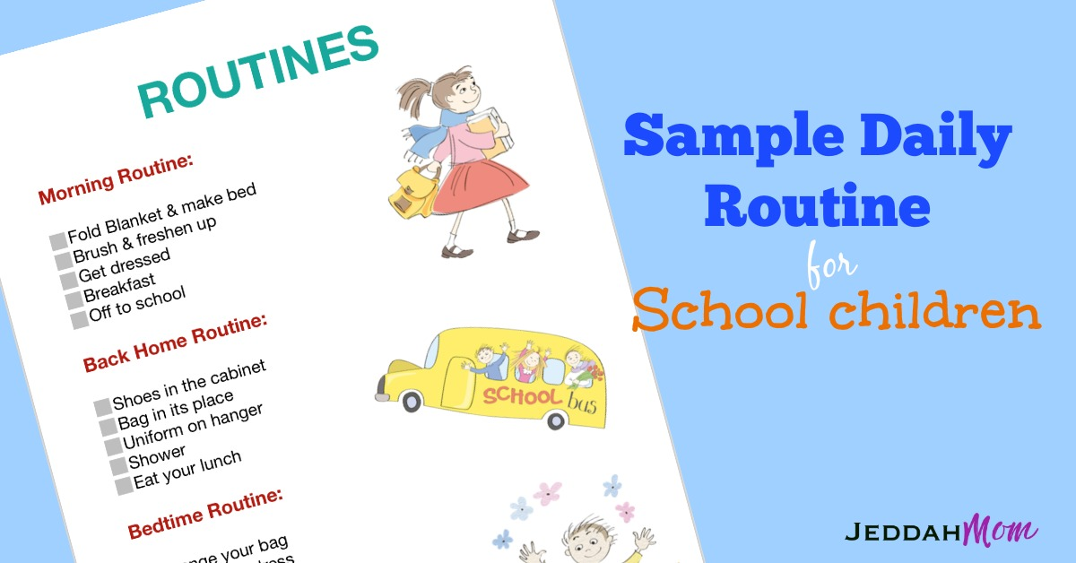 Sample Daily Routine Chart for Children JeddahMom