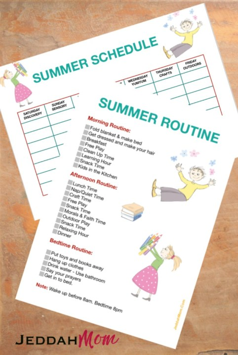 Summer Schedule for kids Daily Summer routine JeddahMom