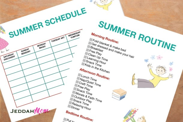 Summer daily summer time routine for kids printable JeddahMom