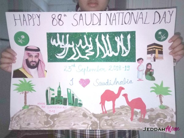 Saudi National Day Celebration by grade 3 child Jeddah Mom