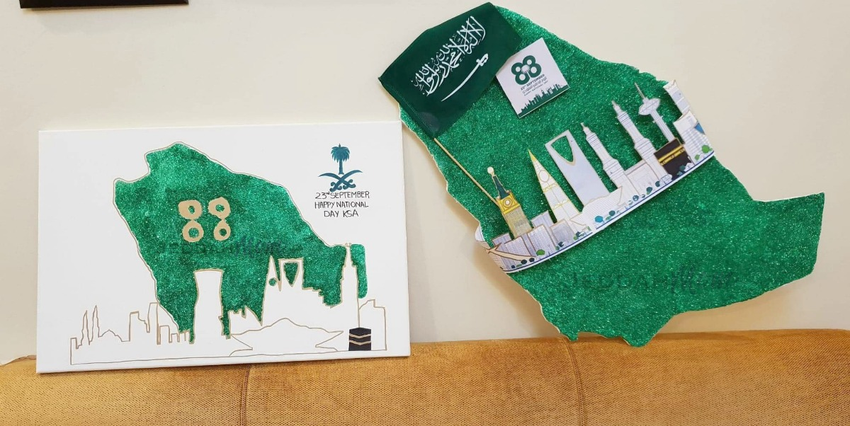 Saudi National Day Projects by kids Jeddah Mom