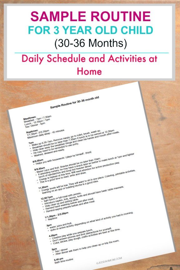 Sample Schedule for 3 year old HOme activities and daily routine 30-36 months Jeddah