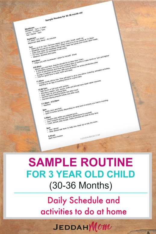 Sample routine for a 3 year old child 30-36 monthold child schedule for 3 year old JeddahMom